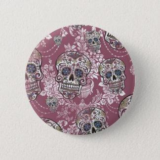 Sugary Sweet Mellow Sugar Skull. Button