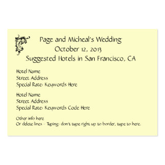 Sugerencia de la reserva de hotel de la invitación tarjetas de visita grandes