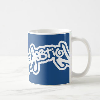 Sugerencia, logotipo del estallido de la pintada taza de café