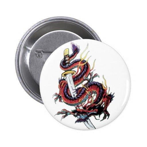 Sui Riu Japanese Dragon Katana 2 Inch Round Button