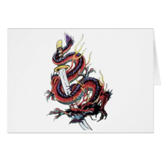 Sui Riu Japanese Dragon Katana Greeting Cards