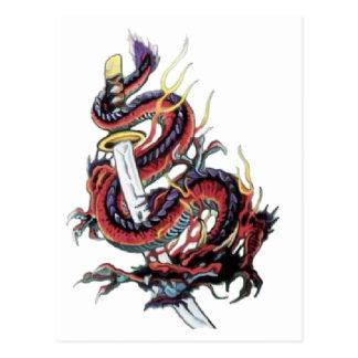 Sui Riu Japanese Dragon Katana Postcard