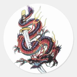 Sui Riu Japanese Dragon Katana Round Sticker