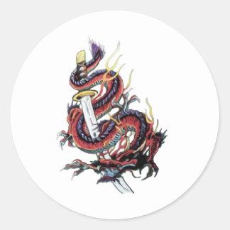 Sui Riu Japanese Dragon Katana Classic Round Sticker
