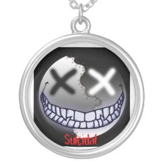Suicidal but happy round pendant necklace