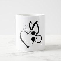 Suicide Awareness Butterfly Semi-Colon Heart Mug