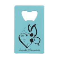 Suicide Awareness Butterfly Semicolon Heart Credit Card Bottle Opener