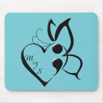 Suicide Awareness Butterfly Semicolon Heart Mouse Pad