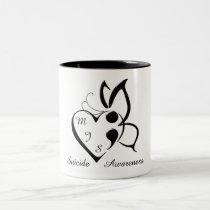 Suicide Awareness Butterfly Semicolon Heart Two-Tone Coffee Mug