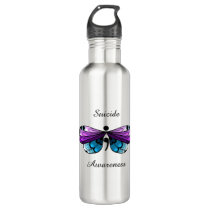 Suicide Awareness Butterfly Semicolon Stainless Steel Water Bottle