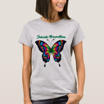 Suicide Awareness Prevention Butterfly Rainbow T T-Shirt