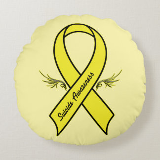 Suicide Awareness Ribbon Round Pillow