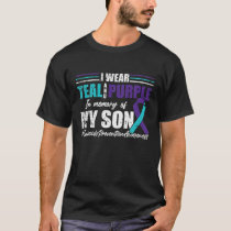 Suicide Depression Teal Purple For Son Prevention T-Shirt
