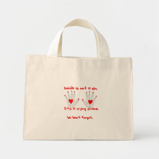 Suicide-It's not a sin, it's a crying shame design Tote Bags