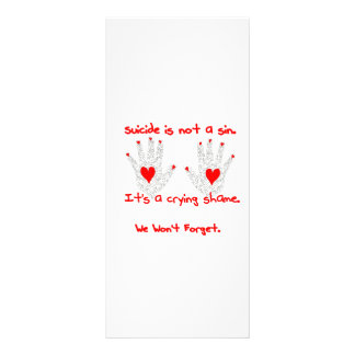 Suicide-It's not a sin, it's a crying shame design Full Color Rack Card