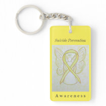 Suicide Prevention Awareness Ribbon Angel Keychain