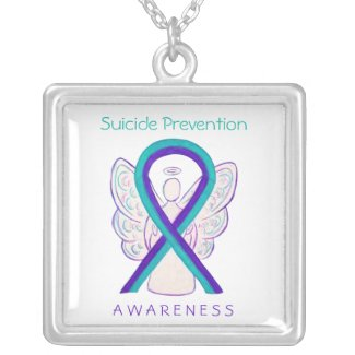 Suicide Prevention Awareness Ribbon Angel Necklace