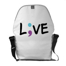 Suicide Prevention Awareness Semicolon Heartbeat Courier Bag