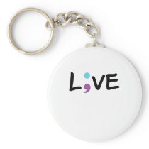 Suicide Prevention Awareness Semicolon Heartbeat Keychain