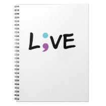 Suicide Prevention Awareness Semicolon Heartbeat Notebook