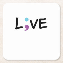 Suicide Prevention Awareness Semicolon Heartbeat Square Paper Coaster