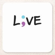 Suicide Prevention Awareness Semicolon Heartbeat Square Paper Coaster
