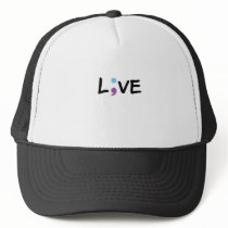 Suicide Prevention Awareness Semicolon Heartbeat Trucker Hat