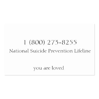 Suicide Prevention Pack Of Standard Business Cards