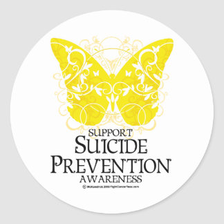 Suicide Prevention Butterfly Classic Round Sticker