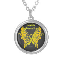 Suicide Prevention Butterfly Ribbon Necklace