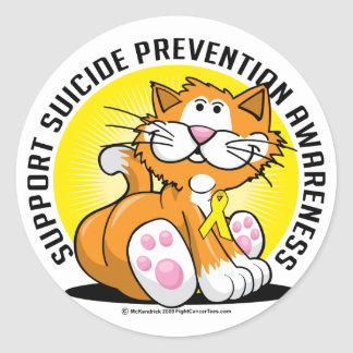 Suicide Prevention Cat Classic Round Sticker