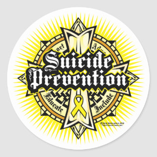 Suicide Prevention Celtic Cross Round Sticker