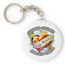 Suicide Prevention Classic Heart Keychain