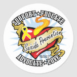 Suicide Prevention Classic Heart Round Stickers