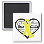 Suicide Prevention Heart Ribbon Collage 2 Inch Square Magnet