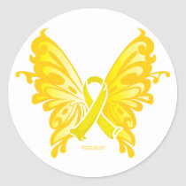 Suicide Prevention Ribbon Butterfly Classic Round Sticker