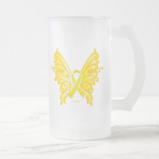 Suicide Prevention Ribbon Butterfly Frosted Glass Beer Mug