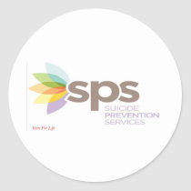 Suicide Prevention Services Logo Apparel. Classic Round Sticker