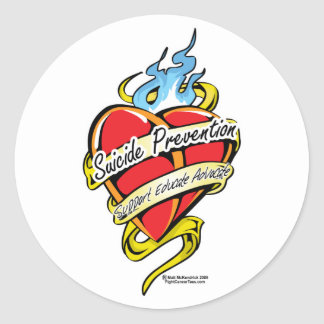Suicide Prevention Tattoo Heart Classic Round Sticker