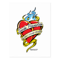 Suicide Prevention Tattoo Heart Postcard