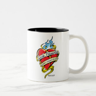 Suicide Prevention Tattoo Heart Two-Tone Coffee Mug