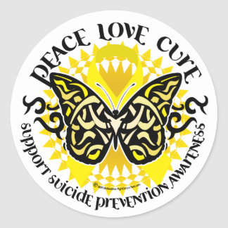 Suicide Prevention Tribal Butterfly Classic Round Sticker