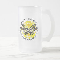 Suicide Prevention Tribal Butterfly Frosted Glass Beer Mug