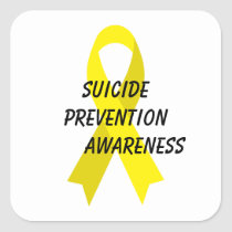 Suicide Prevention Yellow Awareness Ribbon by Janz Square Sticker
