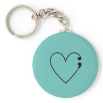 Suicide Semicolon Heart Keychain