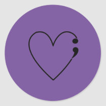 Suicide Semicolon Heart Stickers