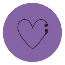 Suicide Semicolon Heart Stickers