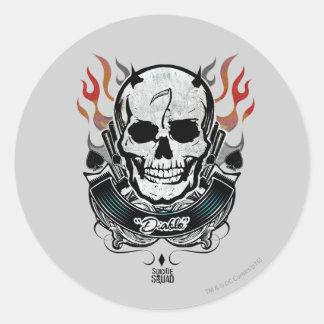 Suicide Squad   Diablo Skull & Flames Tattoo Art Classic Round Sticker