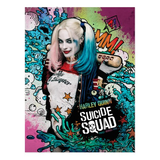 Suicide Squad Harley Quinn Character Graffiti Postcard