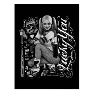 Suicide Squad   Harley Quinn Typography Photo Postcard